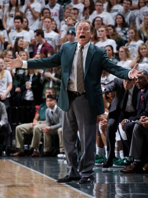 Michigan State coach Tom Izzo reacts during the first half against North Florida, Friday, Nov. 10, 2017 in East Lansing.