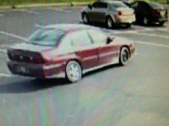 This maroon-colored vehicle is identified by Milford police as involved in the April 2 robbery at a PNC bank branch.