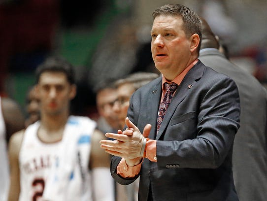 Texas Tech coach Chris Beard gestures during the second
