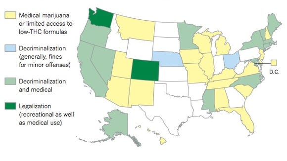 The New York Times called for the legalization of marijuana. They pointed to the current patchwork of laws across the United States as reason for the federal government turning enforcement of marijuana laws to the states.