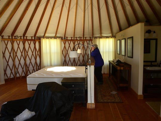 One of the yurt suites at the American Prairie Reserve's Kestrel Camp. Two of the yurts at the camp contain the dining room, kitchen and a lounge.