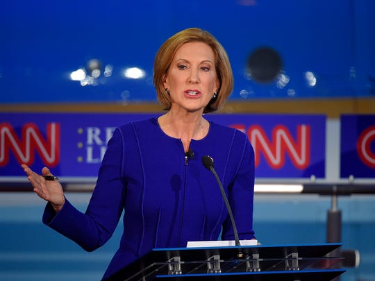 Carly Fiorina takes part at the CNN Republican presidential debate at the Ronald Reagan Library on Sept. 16, 2015, in Simi Valley, Calif.