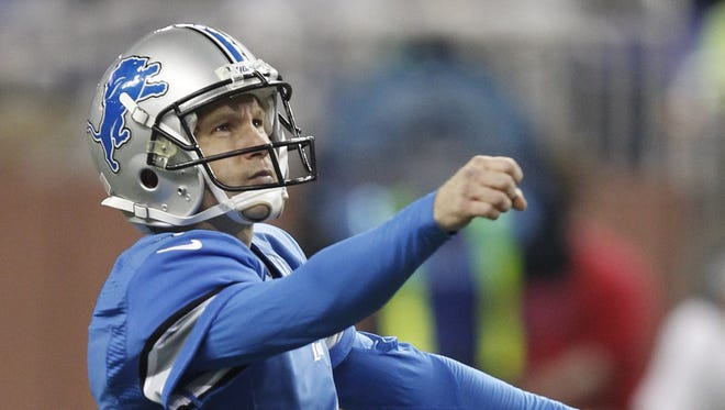 Detroit Lions kicker Jason Hanson watches his 52-yard field goal in the second quarter against the  Indianapolis Colts in Detroit on Dec. 2, 2012.