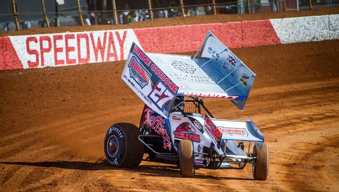 Greg Hodnett races during a heat before the Icebreaker 30 race for 410 Sprints at Lincoln Speedway in Abbottstown on Sunday, Feb. 28, 2016.