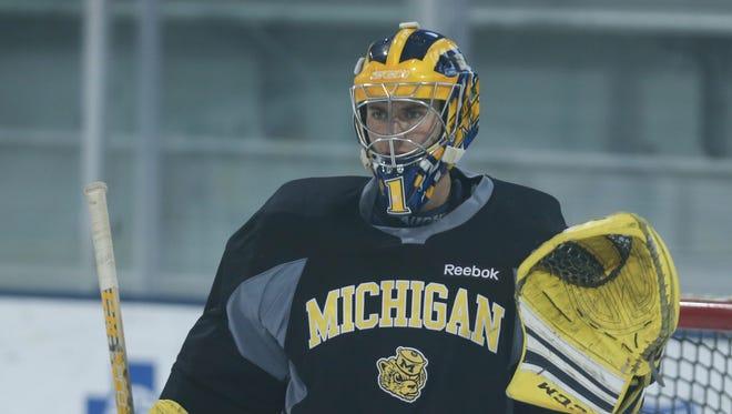 Michigan goalie Steve Racine.
