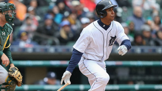 Detroit Tigers' Anthony Gose doubles against the Oakland Athletics' Chris Bassitt during third inning action on Thursday, April 28, 2016 at Comerica Park in Detroit.