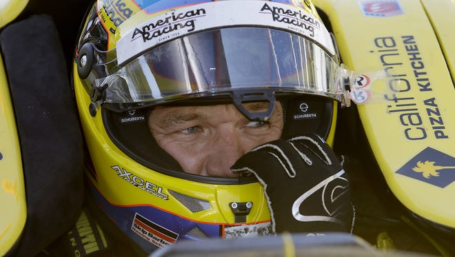 IndyCar driver Townsend Bell sits in his car during practice for the 100th running of the Indianapolis 500 Thursday May 19, 2016, afternoon at the Indianapolis Motor Speedway.