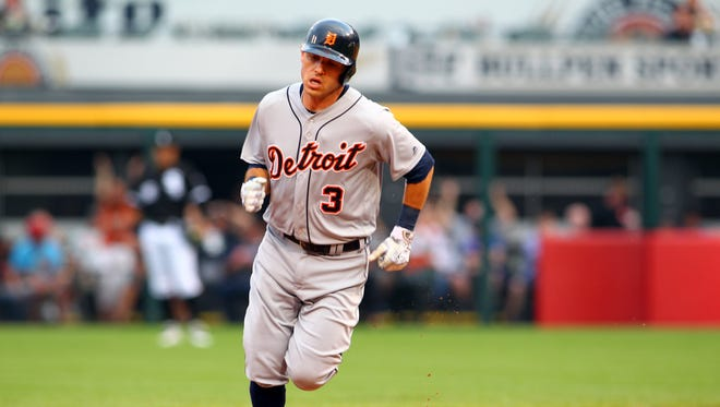 Detroit Tigers second baseman Ian Kinsler rounds second base after hitting a solo home run against the Chicago White Sox on June 13, 2016, at U.S. Cellular Field.