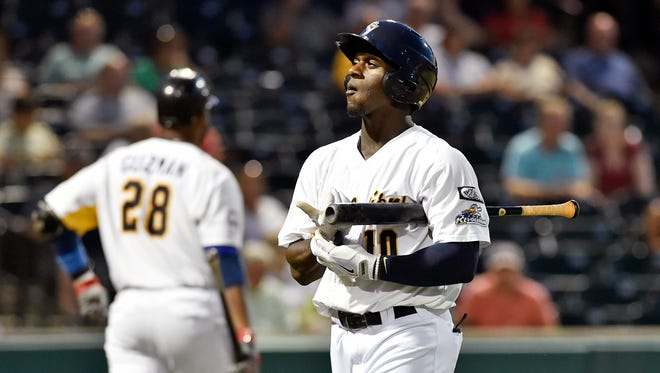 York Revolution outfielder Jared Mitchell walks off the field after striking out in the fifth inning of an Atlantic League baseball game Wednesday at PeoplesBank Park in York.