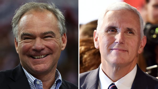 Tim Kaine and Mike Pence face off on Oct. 4, 2016 in the vice presidential debate in Farmville, Va.