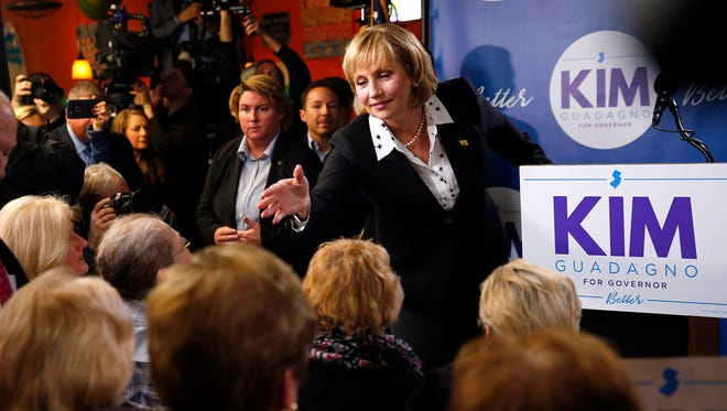 Lt. Gov. Kim Guadagno with supporters at the LaPlaya Restaurant in Keansburg on Tuesday after she announced her candidacy for governor.