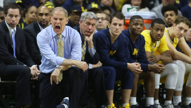 Michigan head coach John Beilein yells instructions in the second half against Michigan State on Sunday, Jan. 29, 2017 at the Breslin Center in East Lansing.