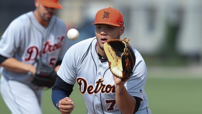 Detroit Tigers pitcher Joe Jimenez goes through drills during Tigers spring training on Wednesday, Feb. 15, 2017 at Publix Field at Joker Marchant Stadium in Lakeland, Fla.