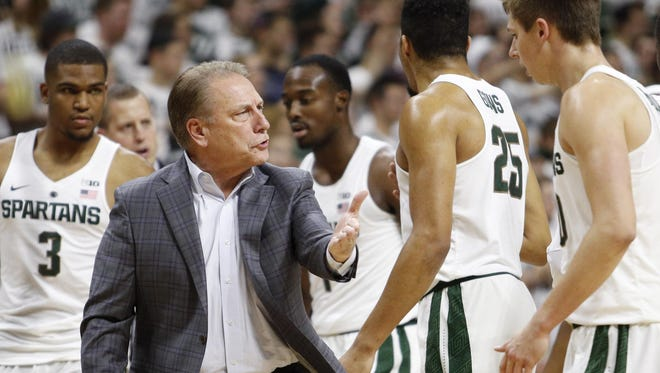 Michigan State coach Tom Izzo is going to need more from Alvin Ellis (3) and Matt McQuaid (20) after Eron Harris' season-ending knee injury.