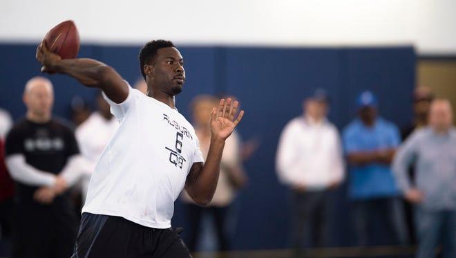 Auburn quarterback Jeremy Johnson (6) throws a pass during Auburn's Pro Day on Friday, March 10, 2017, in Auburn, Ala.