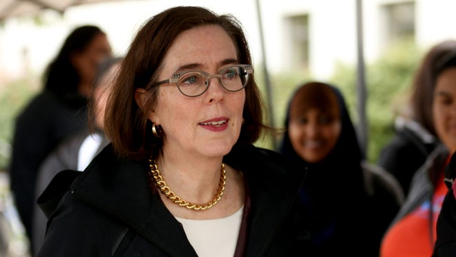 Gov. Kate Brown spoke during a May Day Rally at the Oregon State Capitol in Salem on Monday, May 1, 2017.