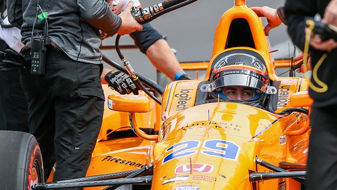 Fernando Alonso, a Formula One two-time champion and three-time runner up, makes adjustments in the pits at Indianapolis Motor Speedway on test day, Wednesday, May 3, 2017. Alonso will compete in the 101st running of the Indianapolis 500, driving for Andretti Autosport. Alonso is the ninth driver to enter the Indy 500 with a world championship under his belt.