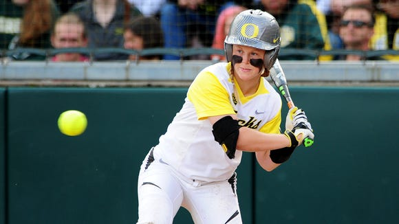 Oregon third baseman Jenna Lilley watches a pitch go past against NC State during the NCAA Super Regional at Howe Field, on Friday, May 22, 2015, in Eugene.
