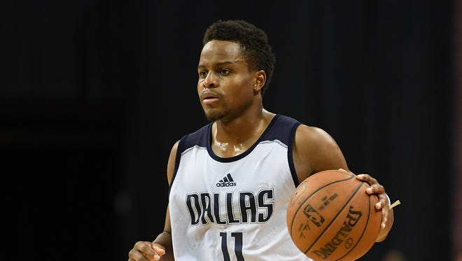 Dallas Mavericks guard Yogi Ferrell (11) dribbles during an NBA Summer League playoff game against the Los Angeles Lakers at Thomas & Mack Center.