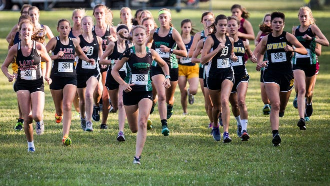 Teams compete in the Delaware County cross country meet at Cowan High School Tuesday, Sept. 5, 2017.