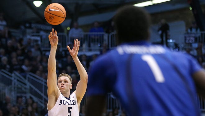 Butler Bulldogs guard Paul Jorgensen (5) shoots during first half action between the Butler Bulldogs and the Saint Louis Billikens at Hinkle Fieldhouse, Indianapolis, Saturday, Dec. 2, 2017. Butler crushed Saint Louis, 75-45.