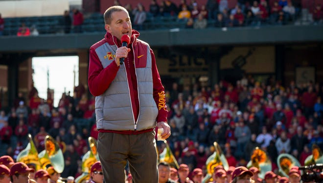 Iowa State director of athletics Jamie Pollard talks to fans at AutoZone Park for the Iowa State pep rally Friday, Dec. 29, 2017, in Memphis, Tennessee.