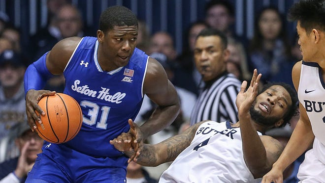 Seton Hall Pirates center Angel Delgado (31) drives into Butler Bulldogs forward Tyler Wideman (4), but avoided the foul, under the Seton Hall Pirates basket during first half action between the Butler Bulldogs and Seton Hall Pirates at Hinkle Fieldhouse, Indianapolis, Saturday, Jan. 6, 2018.