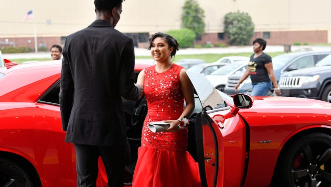 Students and their guests arrive for Dallastown's prom Saturday, May 12, 2018, at Wyndham Garden Hotel in West Manchester Township.