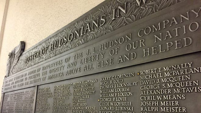 These are 1,146 names on the plaque of J.L. Hudson Co. employees who served in World War II.