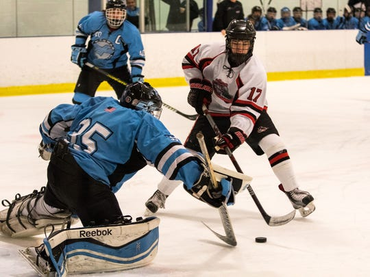 Andrew Heck (17) was the leading scorer for Passaic County hockey champ Lakeland with 54 points this winter.