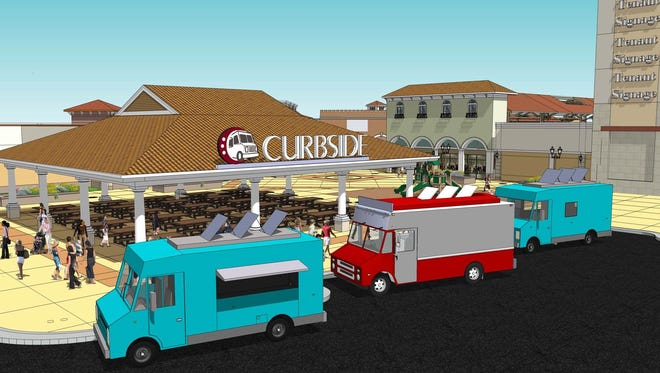 The Outlets at Corpus Christi Bay will be creating a pavilion that will house multiple food trucks underneath a covered area, escaping the common concept of a shopping center food court.