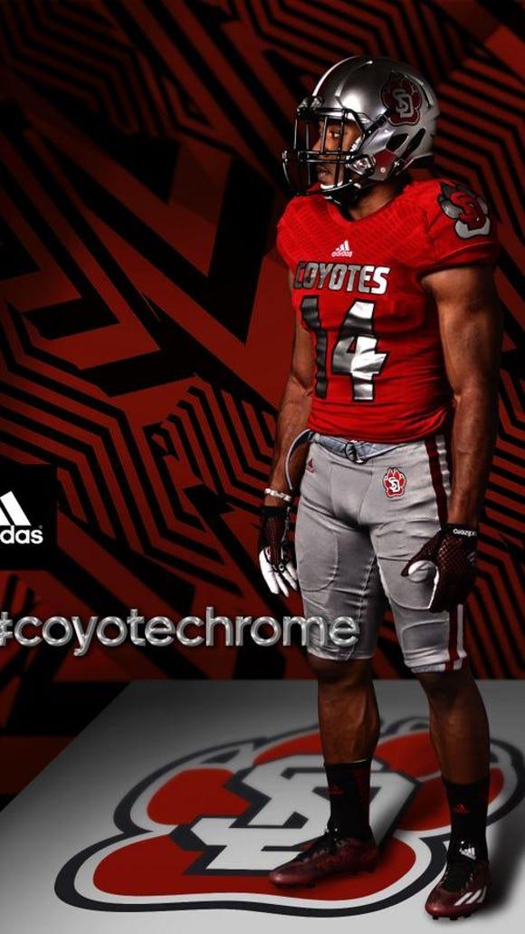 Jasper Sanders models the uniform the Coyotes will be wearing on Saturda vs. Northern Iowa.