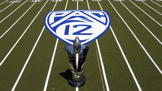 General view of the Pac-12 Championship game trophy.