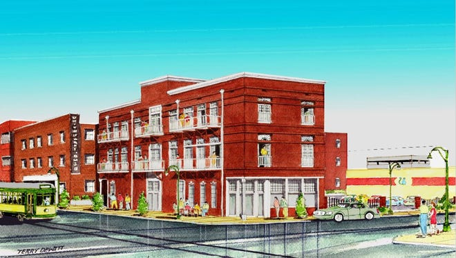 Proposed infill development with apartments, cafe, community kitchen.