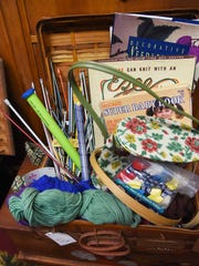 A view of various knitting materials for sale at Pass It On 2 in Pine Plains.