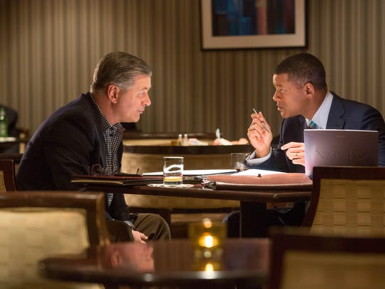 "Alec Baldwin, left, is Dr. Julian Bailes, a former Steelers doctor who has watched a string of players die tragically. In ""Concussion,"" he becomes an ally of Dr. Omalu (Smith)."