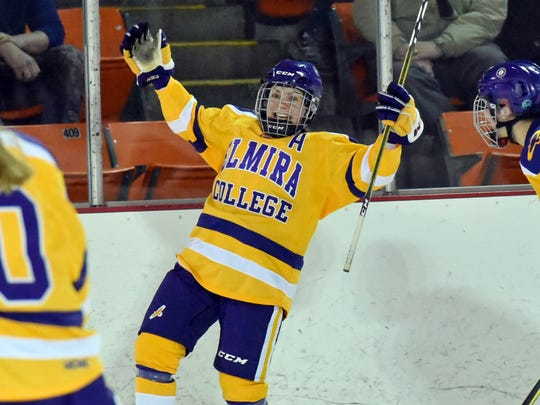 Maddy Evangelous celebrates her empty-net goal Saturday during Elmira College's 2-0 NCAA quarterfinal win over Adrian at the Murray Athletic Center.