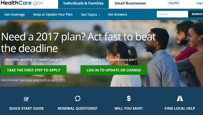 Affordable Care Act marketplace screen shot