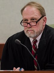 Judge Dennis Pearson at a hearing in Vermont Superior Court in Burlington on Feb. 8, 2018.