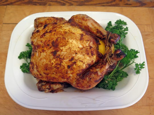 This whole chicken is roasted with Moroccan spices