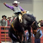 Northwest College's Ricky Warren makes a 73 point ride during the NIRA-Big Sky Region rodeo on Saturday.