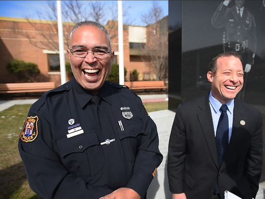 Congressman Josh Gottheimer and Linden Police patrolman Angel Padilla, left, who will be joining the congressman at Tuesday's joint session of Congress. Padilla was shot in his bulletproof vest by a bombing suspect last September in Linden.