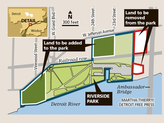 Riverside Park: Map shows land to be added, removed