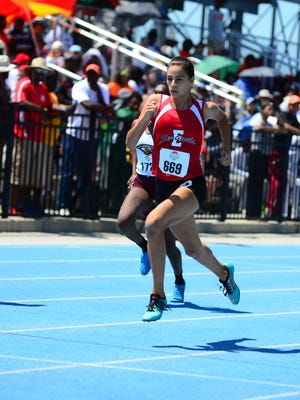 Evangelical Christian School eighth-grader Moriah Oliveira won a Class A championship in the 400-meter run on Friday, May 7, 2016, in 57.10 seconds.