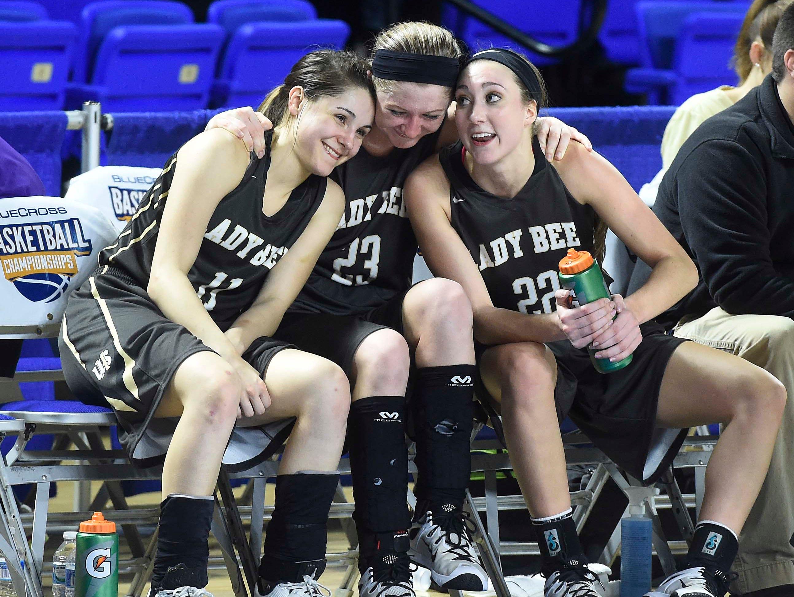 Upperman's Gracie Maynord (11), Abby Greenwood (23) and Ashlyn Medley ...