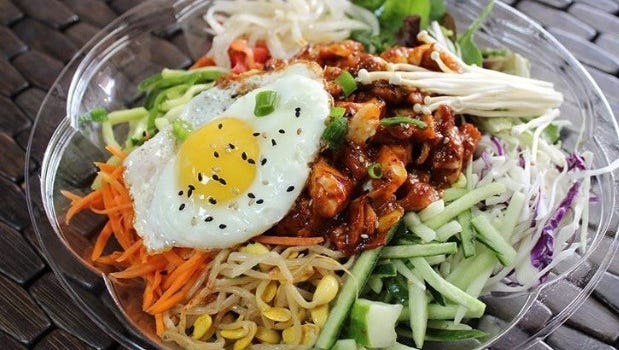 On the menu at Kimchi Mama: spicy chicken bibimbap