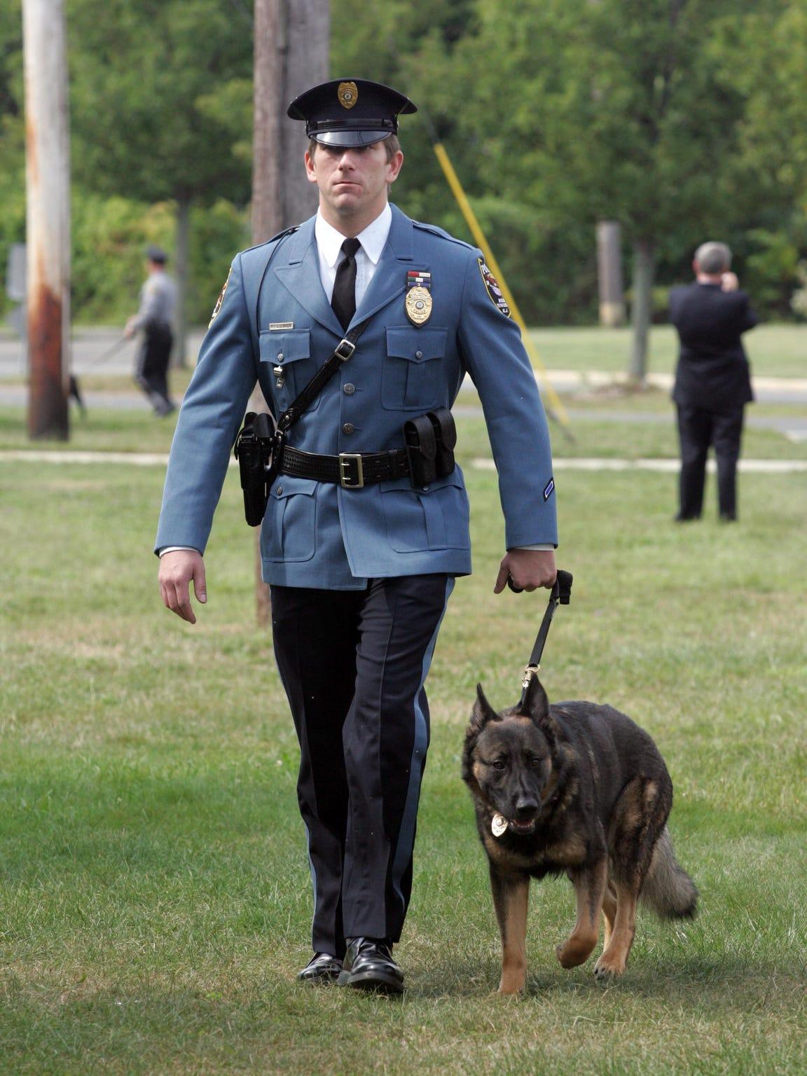 """Former Brick police officer Jeffrey Lempicki and """"Kaden,"""" his dog certified for patrol."""