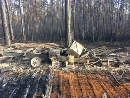 A fire in the River Ranch area of Polk County destroyed 12 structures including a number of mobile homes.
