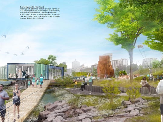 A rendering shows redevelopment proposals for Tom Lee Park.