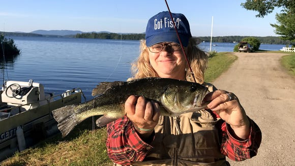 Carol hauled in a big largemouth bass in New Hampshire.